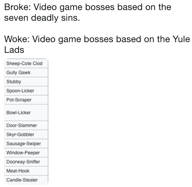 broke or woke meme about basing video game bosses on Christmas characters
