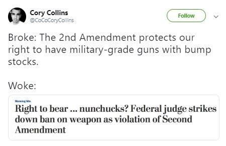 broke or woke tweet about the second amendment