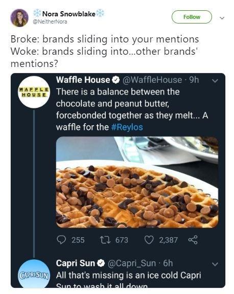 broke or woke tweet about corporate Twitters flirting with each other