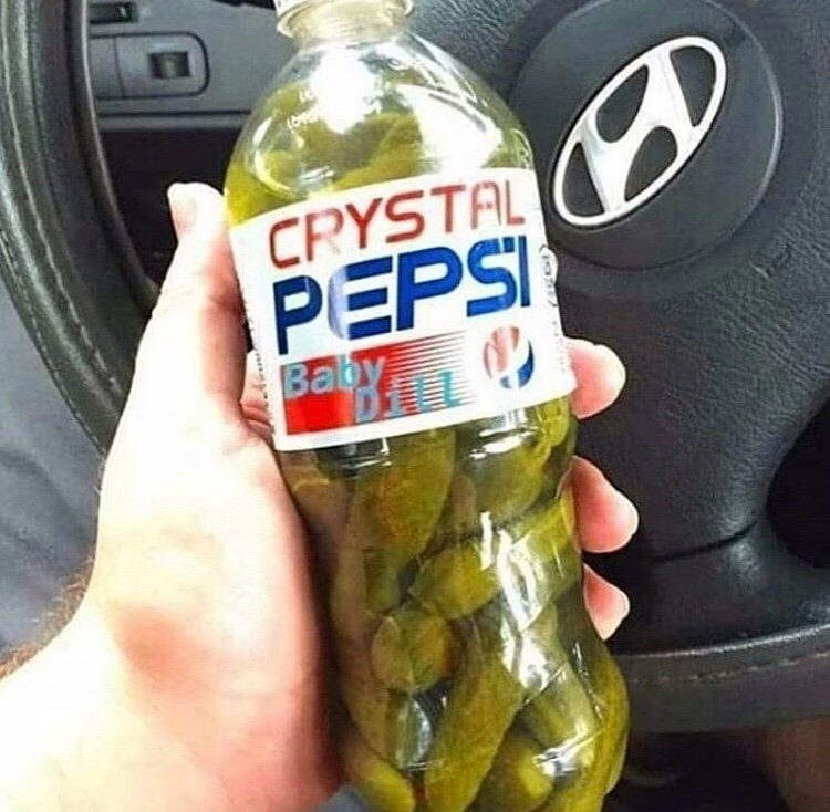 cursed_image - Water - CRYSTAL PEPSI Baby dills with pickles inside