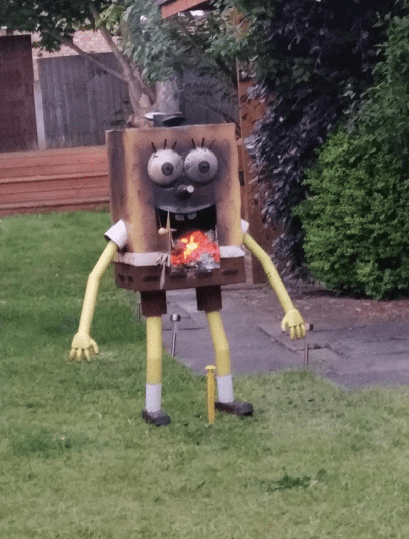 cursed_image of spongebob in the yard as a bbq
