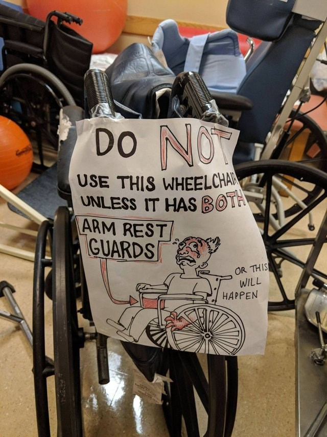 Font - Do NOY USE THIS WHEELCHA UNLESS IT HAS BOTA ARM REST GUARDS OR THIS WILL HAPPEN