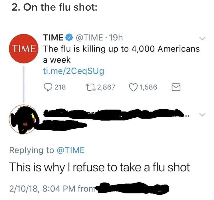 "Time tweet that readsm ""The flu is killing up to 4,000 Americans a week;"" someone comments, ""This is why I refuse to take a flu shot"""
