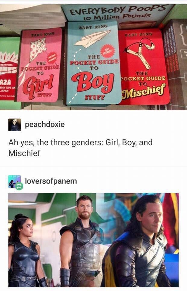 meme about the three genders represented by characters from the movie Thor