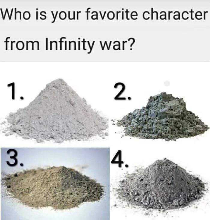 meme about the characters in Infinity War dying and turning into ashes