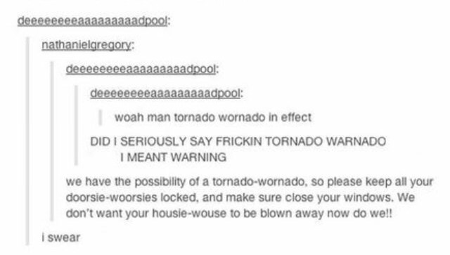 Tumblr thread warning from tornadoes in baby talk