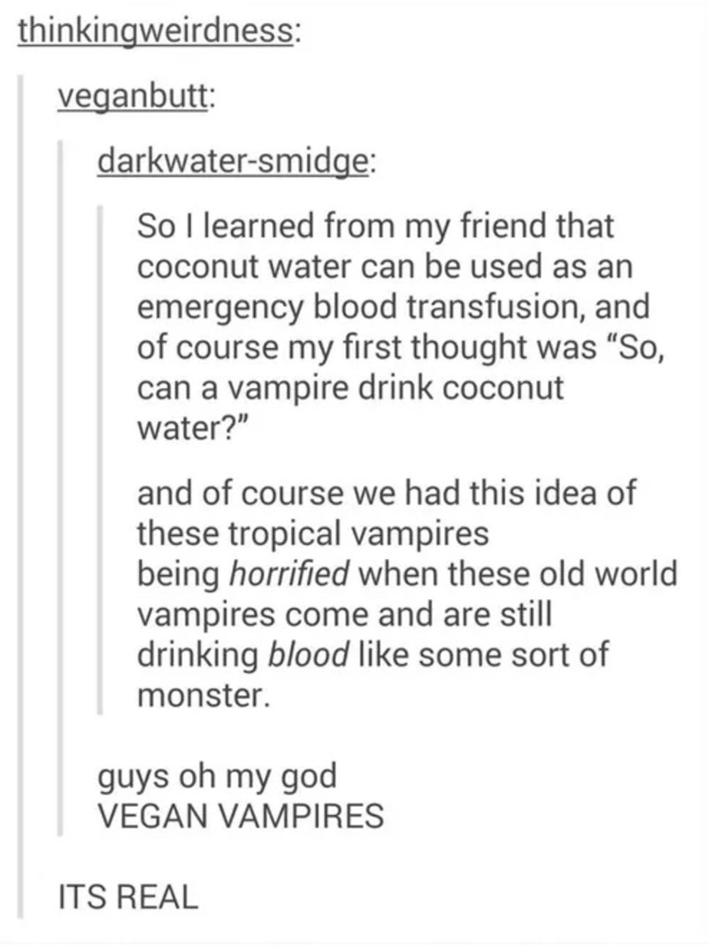 Tumblr thread about tropical vampires