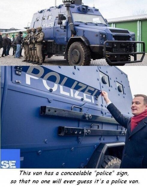 meme about armored police van that's meant to pass as a regular car