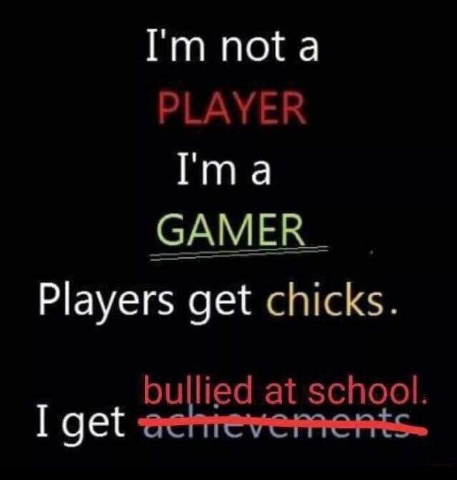 meme about the difference between players and gamers