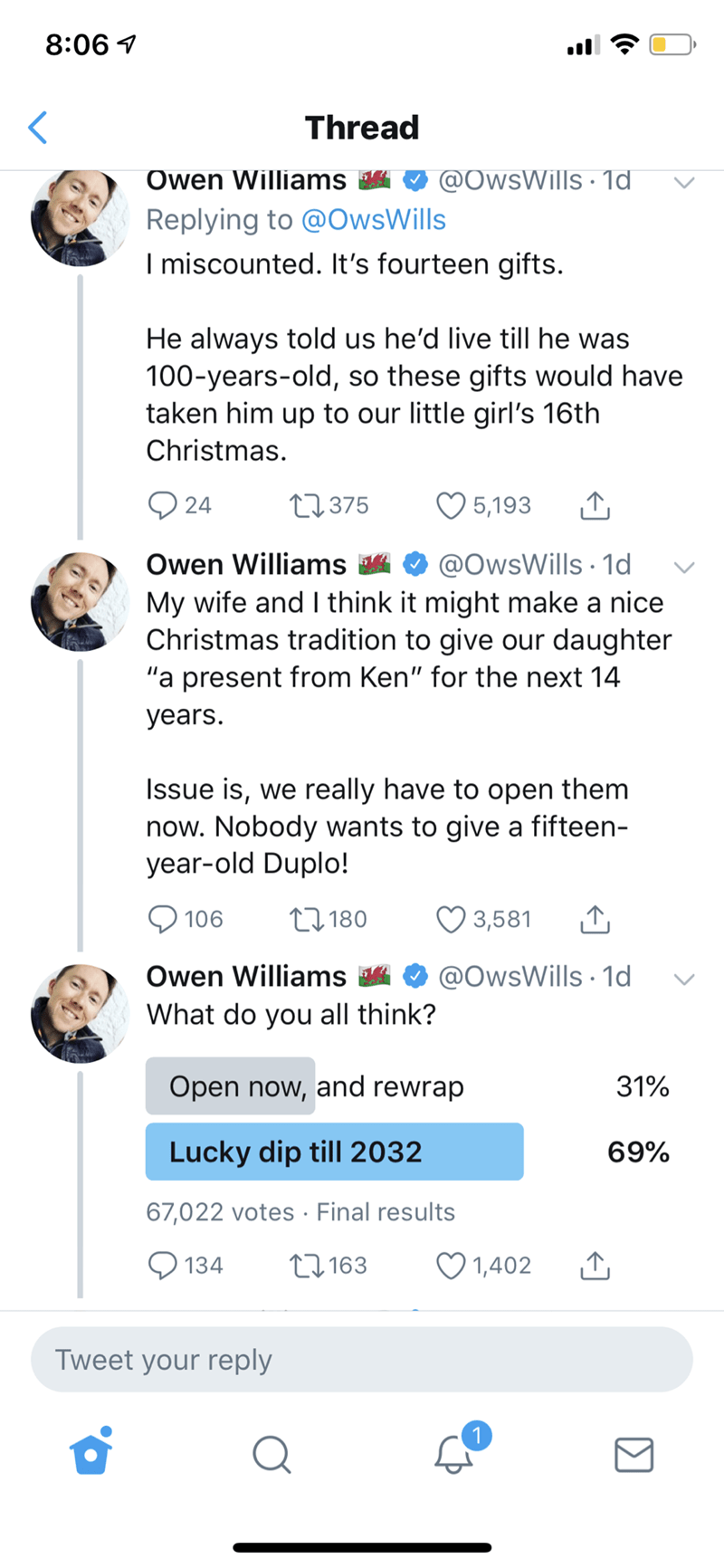 wholesome Christmas meme with guy asking if he should open gifts purchased in advance by late neighbor