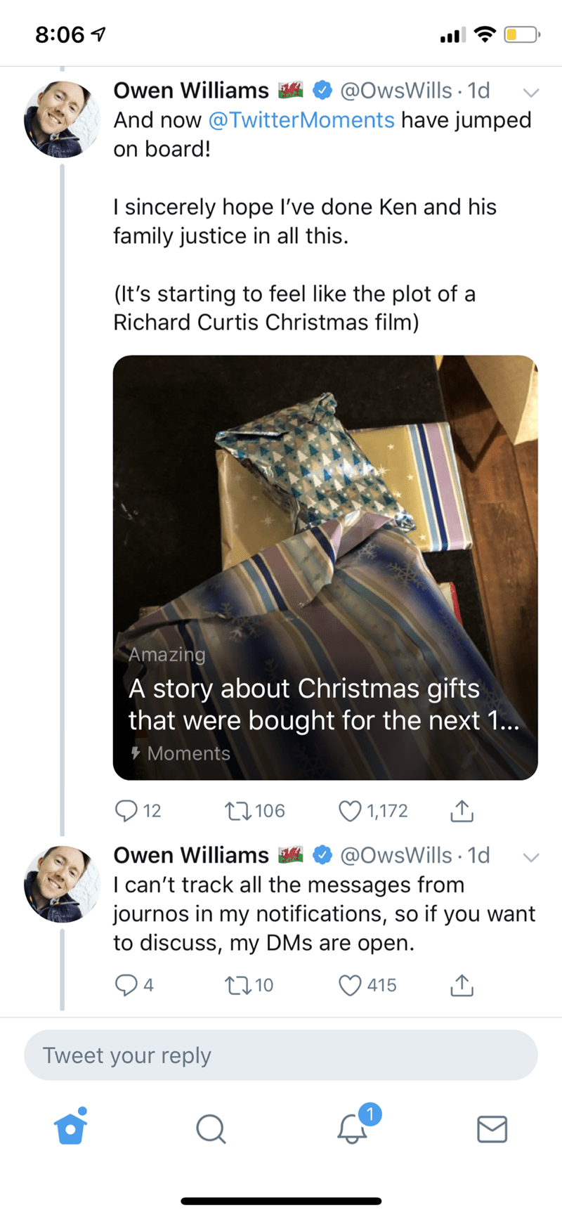wholesome Christmas meme about opening gifts bought in advance by late neighbor