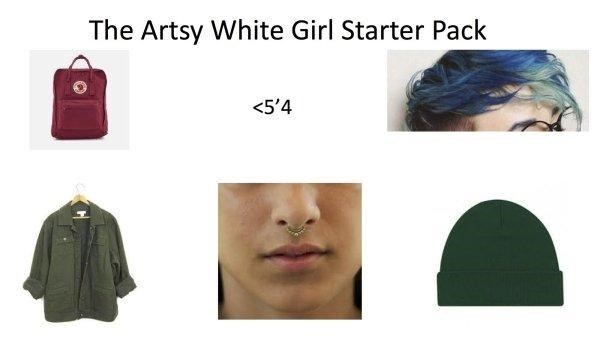 short artsy girl with dyed hair and piercings starter pack