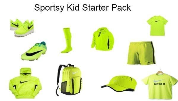 kids who play sports and wear everything Nike in bright green starter pack