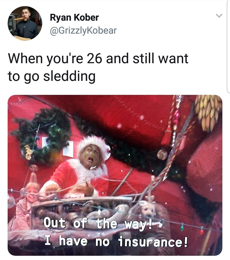 """Caption that reads, """"When you're 26 and still want to go sledding"""" above a pic of the Grinch riding Santa's sleigh while saying, """"Out of the way! I have no insurance!"""""""