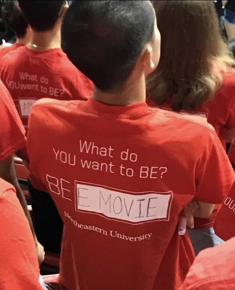 Funny picture of a shirt on a kid who wants to be a bee movie.