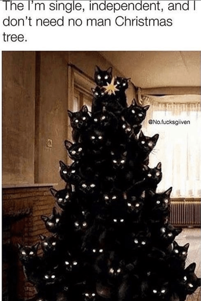 Christmas tree - The I'm single, independent, and don't need no man Christmas tree. No.fucksgiven