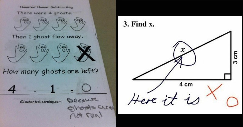 Funny pics of kids' homework and tests where they outsmarted the teachers