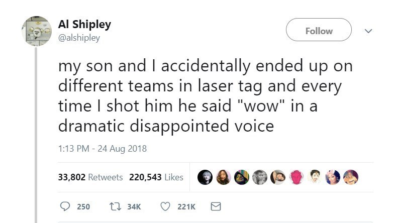 "Text - Al Shipley @alshipley Follow my son and I accidentally ended up on different teams in laser tag and every time I shot him he said ""wow"" in a dramatic disappointed voice 1:13 PM - 24 Aug 2018 33,802 Retweets 220,543 Likes t34K 250 221K"