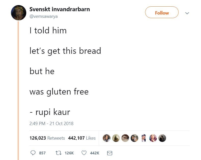 Text - Svenskt invandrarbarn Follow @vemsawarya I told him let's get this bread but he was gluten free - rupi kaur 2:49 PM 21 Oct 2018 126,023 Retweets 442,107 Likes 1 126K 857 442K