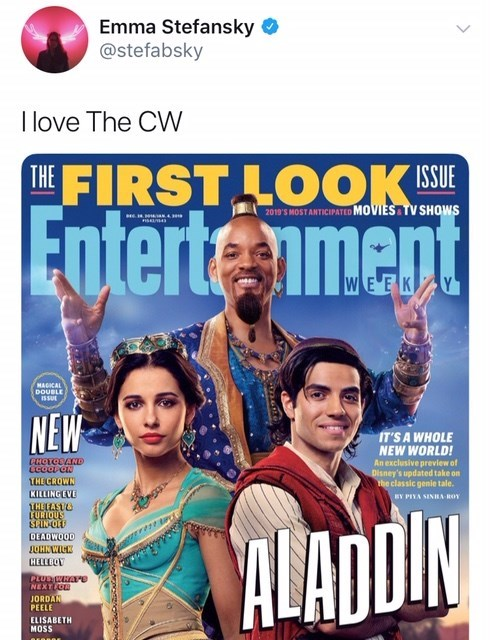 will smith genie meme - Movie - Emma Stefansky @stefabsky I love The CW THE FIRST LOOK IE 2019'S MOST ANTICIPATED MOVIES TV SHOWS Enterteenment WEEK MAGICAL DOUBLE ISSUR NEW IT'S A WHOLE NEW WORLD! An exclusive preview of Disney's updated take on the classic genie tale. PHOTODAND THECROWN KILLING EVE HEAST EURIQUS SINOL DEADWOOD JOHNWICK BY PIYA SINBA ROY HELLBOY PLUS WHATS NEXTLUS JORDAN PEELE ELISABETH MOSS NITON e