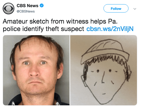 Face - CBS News Follow @CBSNews Amateur sketch from witness helps Pa. police identify theft suspect cbsn.ws/2nViljN