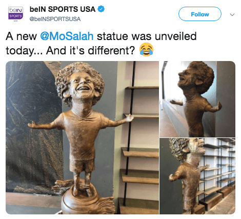 Sculpture - baN belN SPORTS USA Follow @belNSPORTSUSA A new @MoSalah statue was unveiled today... And it's different?