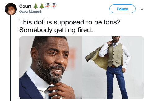 Facial hair - Court Follow @courtdanee2 This doll is supposed to be Idris? Somebody getting fired