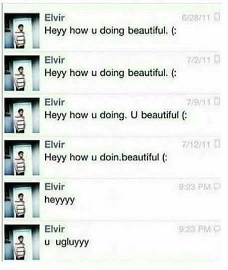 Text - 6/28/11 Elvir Heyy how u doing beautiful. 7/2/11 Elvir Heyy how u doing beautiful. 7/9/11 Heyy how u doing. U beautiful Elvir Elvir 7/12/11 Heyy how u doin.beautiful 9:23 PM Elvir heyyyy 9:23 PM Elvir u ugluyyy