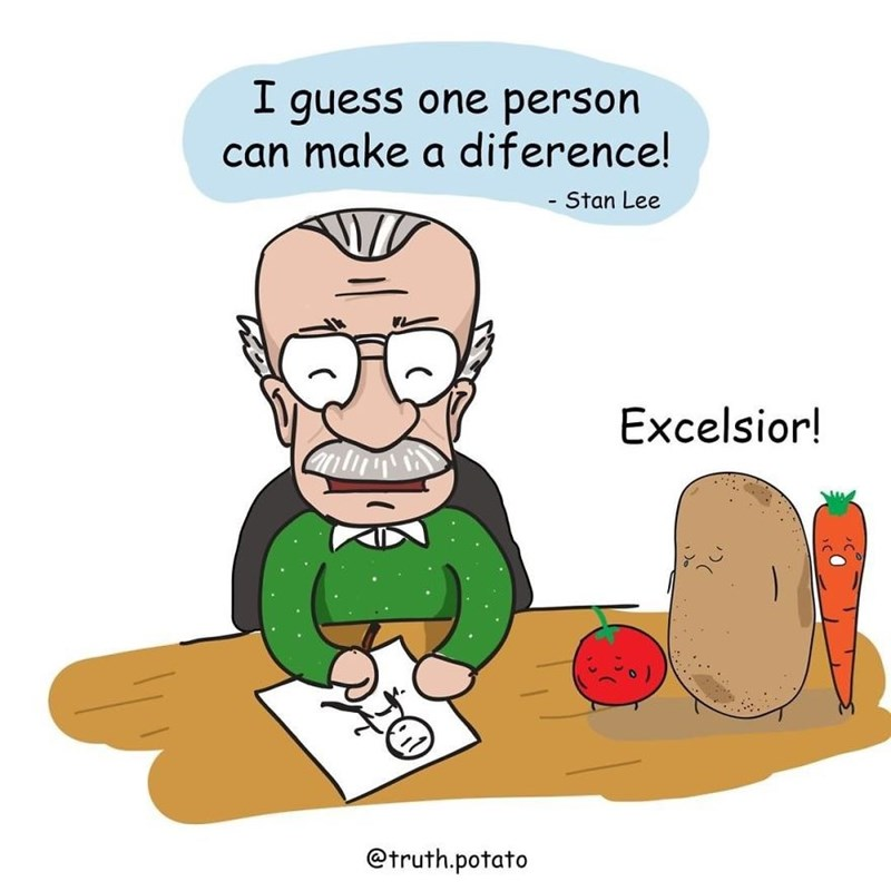 harsh reality - Cartoon - I guess one person can make a diference! - Stan Lee Excelsior! @truth.potato