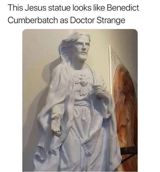"Caption that reads, ""This Jesus statue looks like Benedict Cumberbatch as Doctor Strange"" above a statue in a church of the same description"