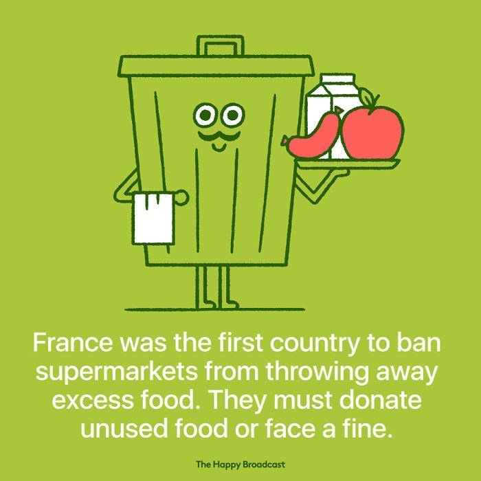 good news - Green - LL France was the first country to ban supermarkets from throwing away excess food. They must donate unused food or face a fine. The Happy Broadcast