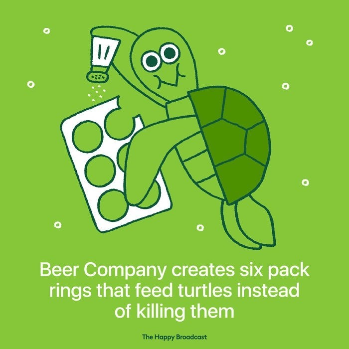 """Text that reads, """"Beer company creates six-pack rings that feed turtles instead of killing them"""" under an illustration of a turtle eating a beer six-pack"""