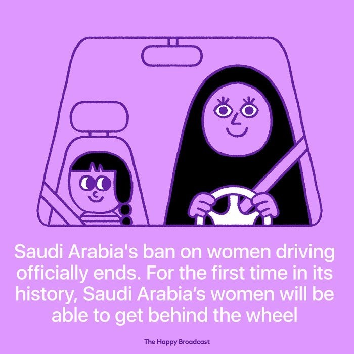 good news - Violet - Saudi Arabia's ban on women driving officially ends. For the first time in its history, Saudi Arabia's women will be able to get behind the wheel The Happy Broadcast