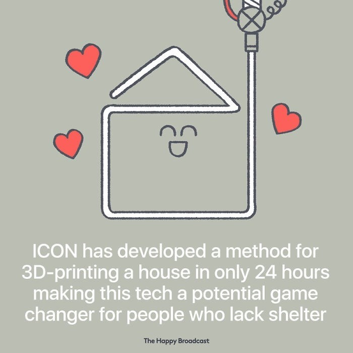 good news - Text - ICON has developed a method for 3D-printing a house in only 24 hours making this tech a potential game changer for people who lack shelter The Happy Broadcast