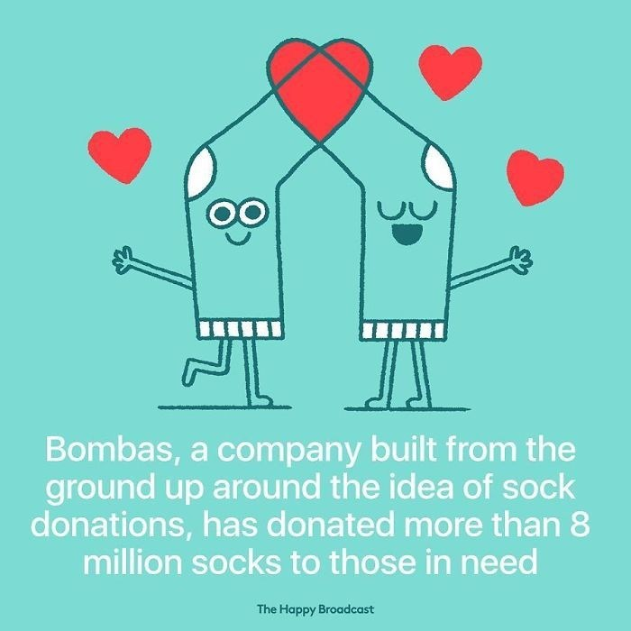 good news - Illustration - Bombas, a company built from the ground up around the idea of sock donations, has donated more than 8 million socks to those in need The Happy Broadcast