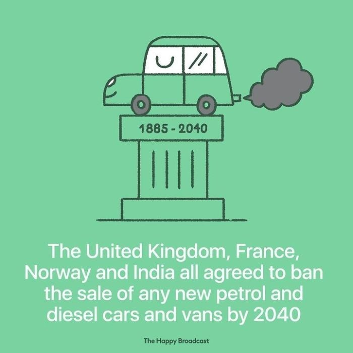 good news - Motor vehicle - |// 1885-2040 The United Kingdom, France, Norway and India all agreed to ban the sale of any new petrol and diesel cars and vans by 2040 The Happy Broadcast