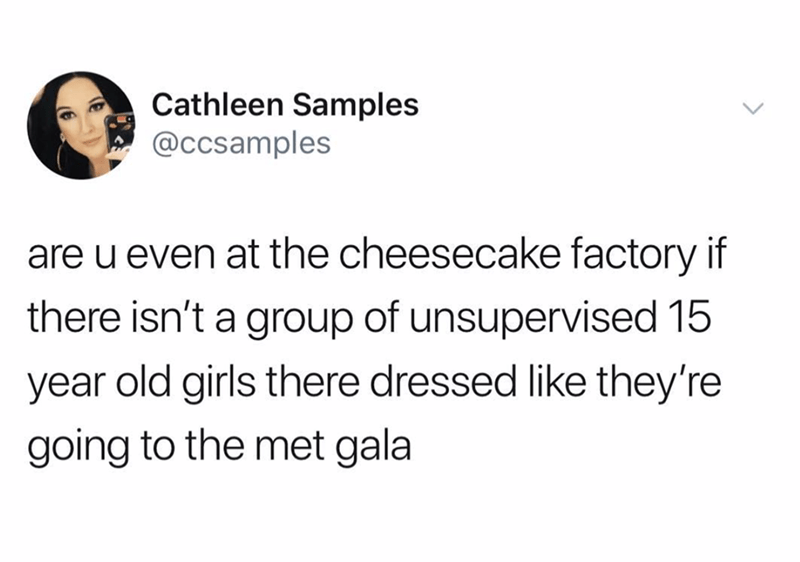 Text - Cathleen Samples @ccsamples are u even at the cheesecake factory if there isn't a group of unsupervised 15 year old girls there dressed like they're going to the met gala