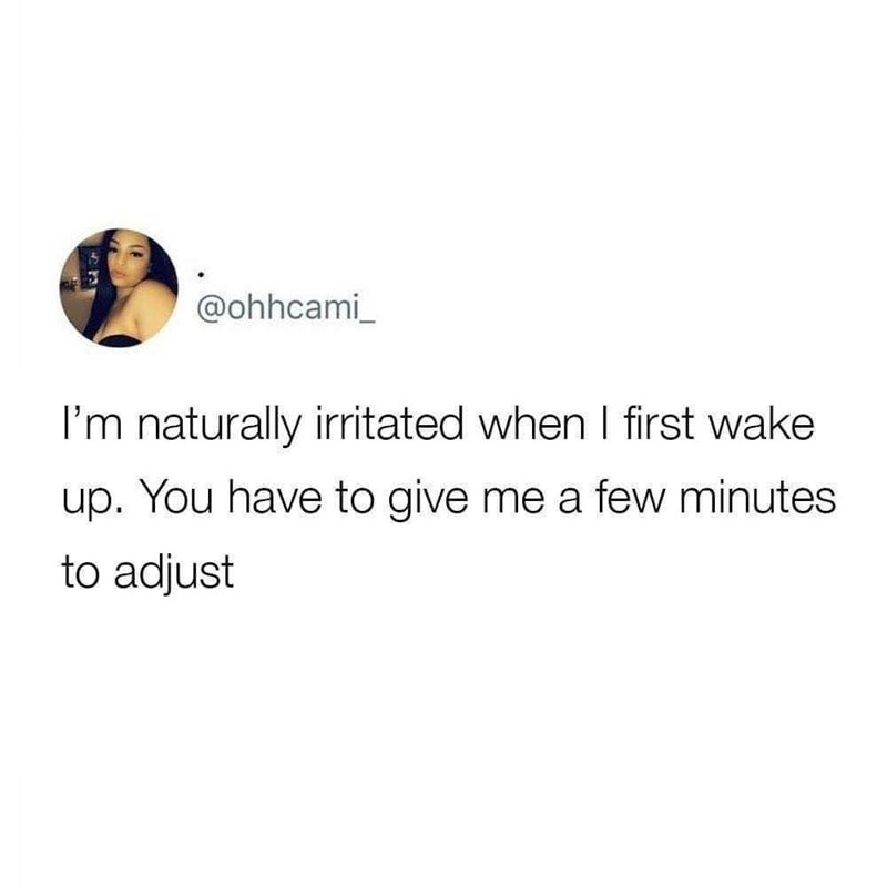 Text - @ohhcami I'm naturally irritated when I first wake up.You have to give me a few minutes to adjust