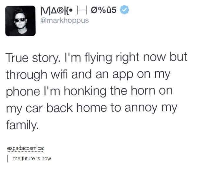 Text - MABK H0%û5 @markhoppus True story. I'm flying right now but through wifi and an app on my phone I'm honking the horn on my car back home to annoy my family. espadacosmica: the future is now
