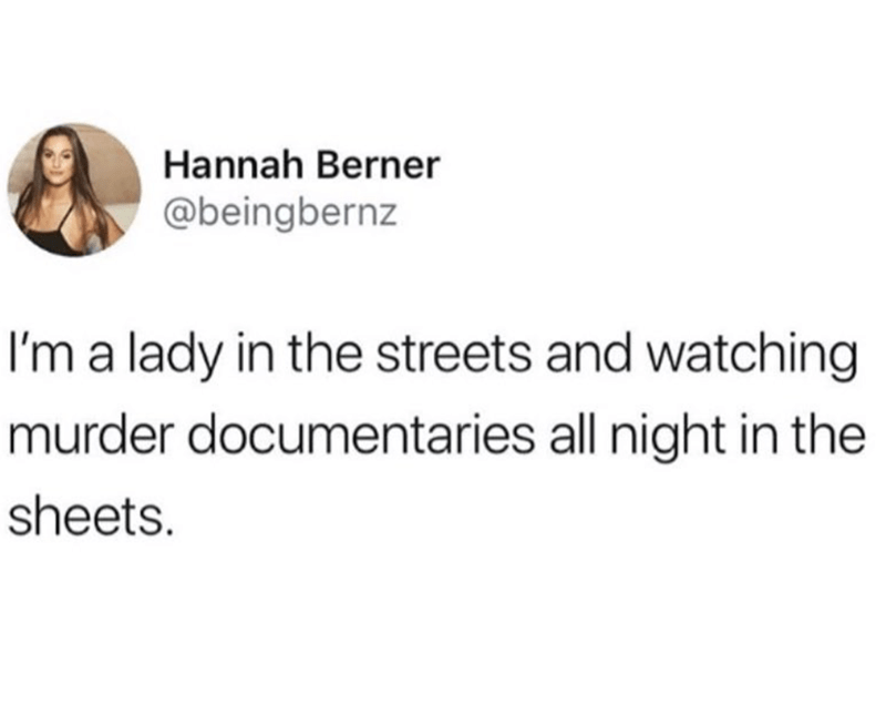 Text - Hannah Berner @beingbernz I'm a lady in the streets and watching murder documentaries all night in the sheets