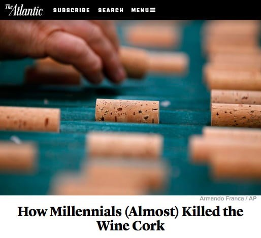 Text - THAtlantic The SUBSCRIBE SEARCH MENUE Armando Franca/ AP How Millennials (Almost) Killed the Wine Cork