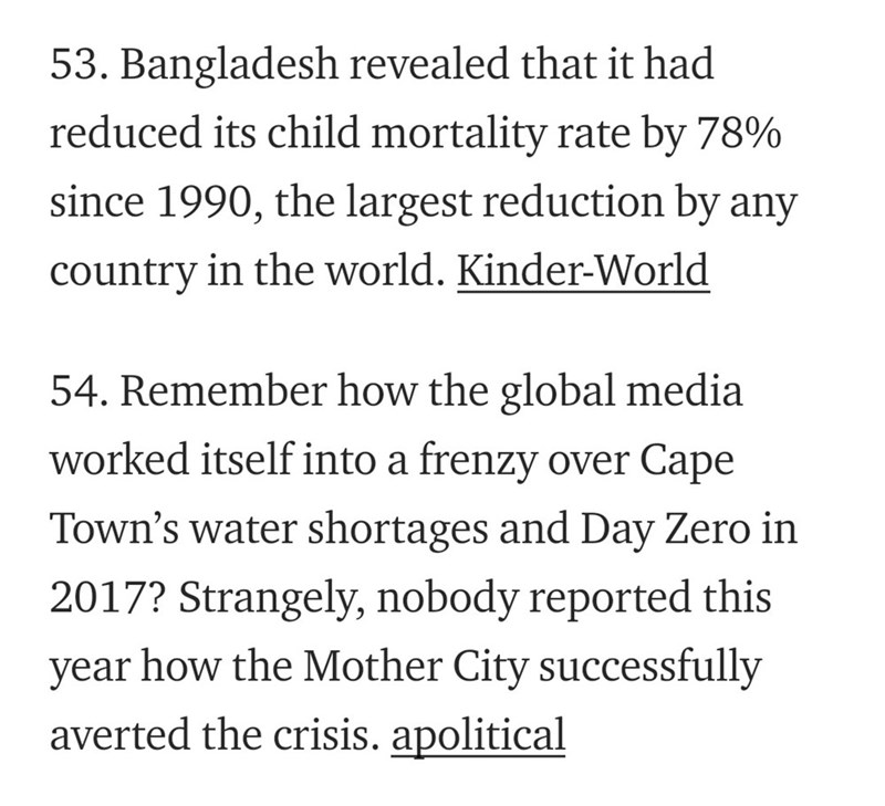 Text - 53. Bangladesh revealed that it had reduced its child mortality rate by 78% since 1990, the largest reduction by any country in the world. Kinder-World 54. Remember how the global media worked itself into a frenzy over Cape Town's water shortages and Day Zero in 2017? Strangely, nobody reported this how the Mother City successfully year averted the crisis. apolitical