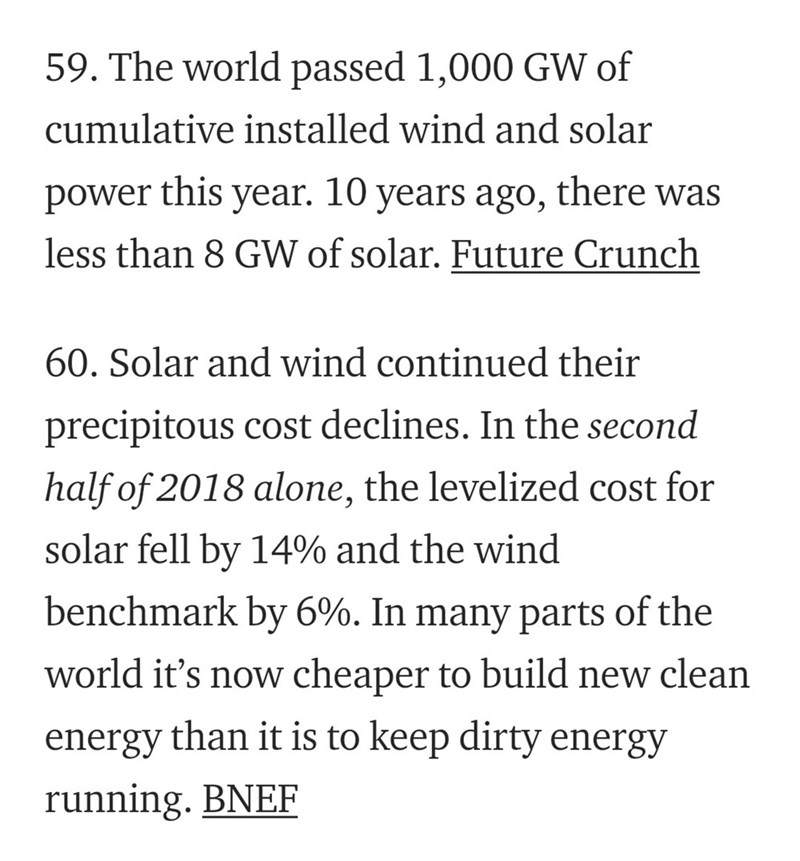 Text - 59. The world passed 1,000 GW of cumulative installed wind and solar this year. 10 years ago, there was power less than 8 GW of solar. Future Crunch 60. Solar and wind continued their precipitous cost declines. In the second half of 2018 alone, the levelized cost for solar fell by 14% and the wind benchmark by 6%. In many parts of the world it's now cheaper to build new clean energy than it is to keep dirty energy running. BNEF
