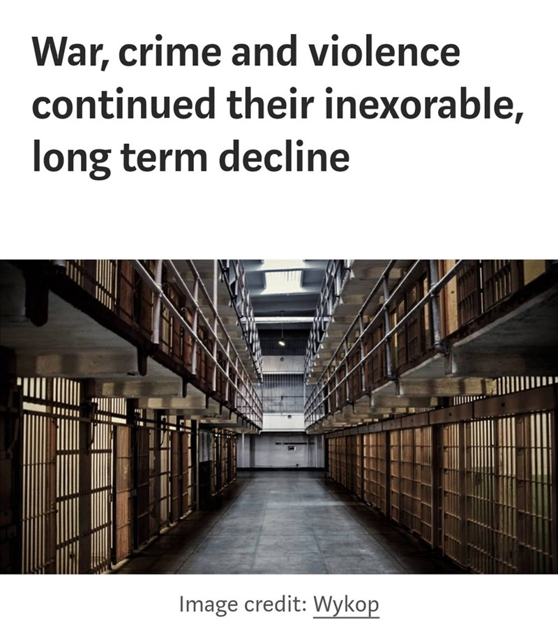 Text - War, crime and violence continued their inexorable, long term decline Image credit: Wykop