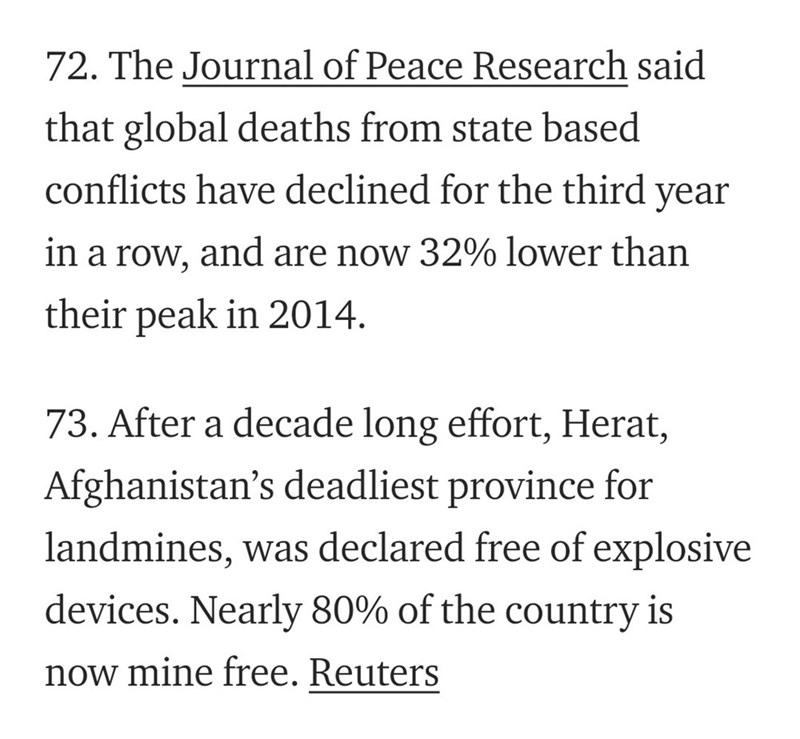 Text - 72. The Journal of Peace Research said that global deaths from state based conflicts have declined for the third year in a row, and are now 32% lower than their peak in 2014. 73. After a decade long effort, Herat, Afghanistan's deadliest province landmines, was declared free of explosive devices. Nearly 80% of the country is now mine free. Reuters