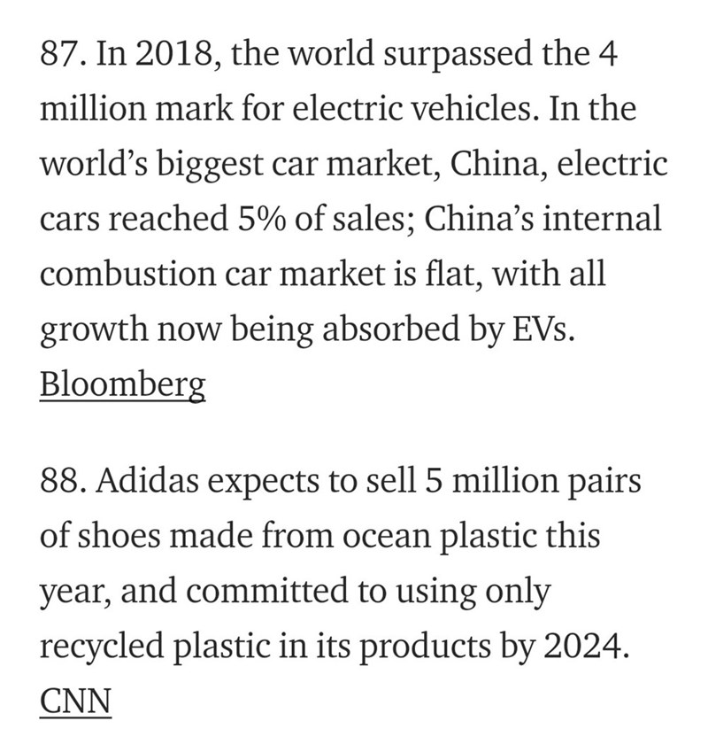 Text - 87. In 2018, the world surpassed the 4 million mark for electric vehicles. In the world's biggest car market, China, electric cars reached 5% of sales; China's internal combustion car market is flat, with all growth now being absorbed by EVs. Bloomberg 88. Adidas expects to sell 5 million pairs of shoes made from ocean plastic this and committed to using only year, recycled plastic in its products by 2024 CNN