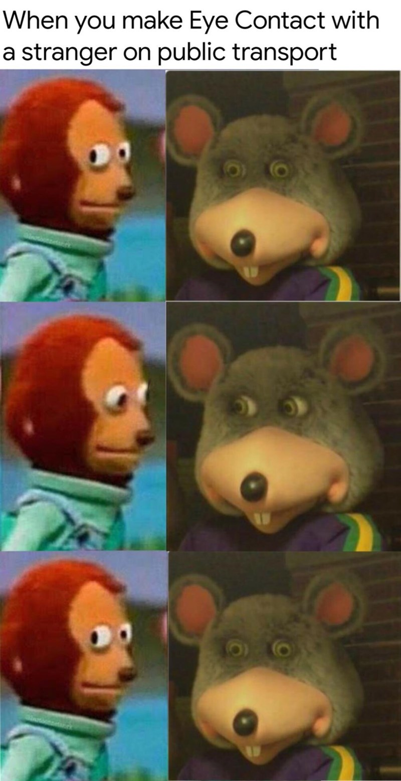 "Caption that reads, ""When you make eye contact with a stranger on public transport"" above panel pics of puppet characters awkwardly looking at each other and then looking away"