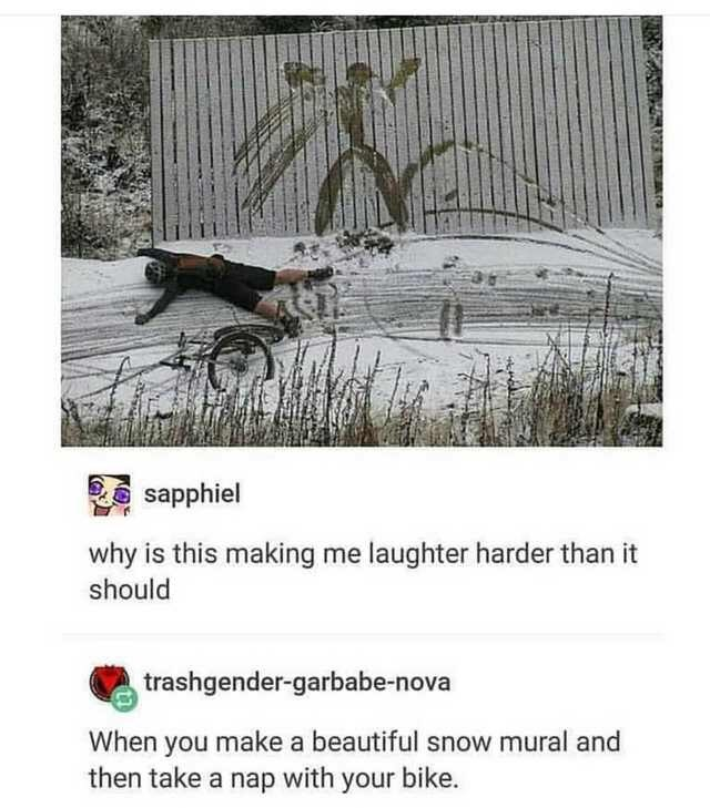 Text - sapphiel why is this making me laughter harder than it should trashgender-garbabe-nova When you make a beautiful snow mural and then take a nap with your bike.