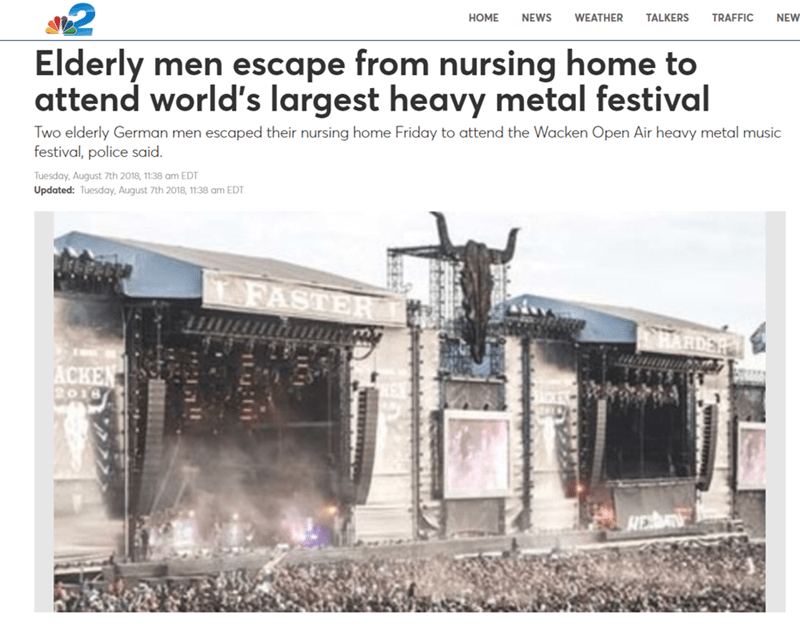 funny meme about an old man who went to a metal festival
