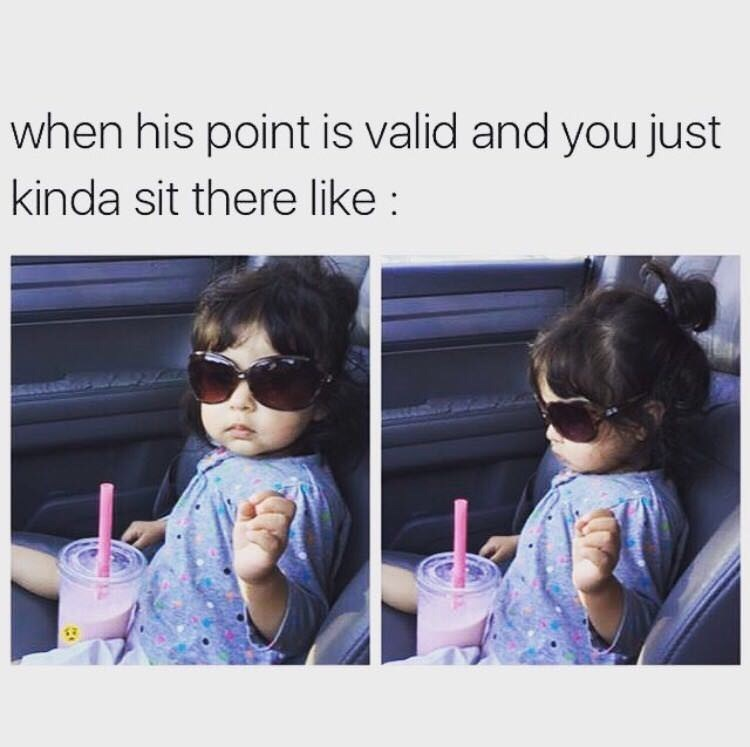 funny meme of a little wearing sunglasses and not knowing what to do if you're losing an argument